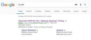 google sonuç sayfası